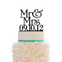 Acrylic Mr & Mrs Wedding Cake Topper Custom Date Cake Decorations  Personalized Birthday Cake Topper