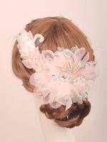 Handmade Flower Bridal Hairpins Pearl Rhinestone Beaded Organza Fabric Hair Clips Wedding Hair Accessories For Bride WIGO0268