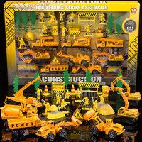 2014 Free shipping alloy toy engineering car set gift box navvies bulldozer crane car model /baby toy/christmas,birthday gift