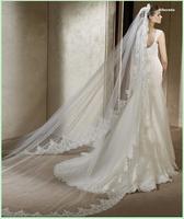 Freeshipping Bridal veil wedding dress accessories formal veil 3 meters lace decoration veil
