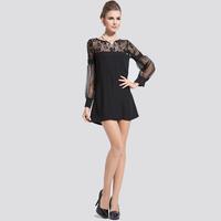 2014 new arrival strapless lace basic shirt female long-sleeve spring organza chiffon shirt top long design