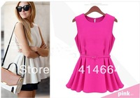 Cute Girl Summer Dress Peplum Top Gowns Candy Color European Solid Mini Pleated Short Sleeve Woman Clothing S-XL 2014 New