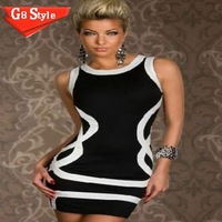 N107 2014 brand new women fashion prom party evening club dresses casual dress stripe sexy  wholesale