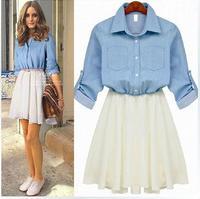 2014 Spring Summer women jeans dress solid  half sleeve chiffon patchwork denim newest fashion denim dress