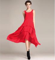 New  2015 women Bohemia Asymmetric chiffon dress,candy color cute fairy vest long dress, brief cascading ruffle party dress