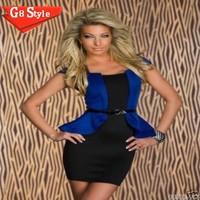 N126 # 2015 New Slim waist Peplum Bandage dress with lotus pose women girl club party night sexy evening dress dresses