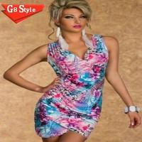 N121# 2015 summer new club fashion evening sexy  models sleeveless deep V summer print dress dresses sexy   clubbing