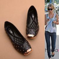 New arrival 2014 fashion personality paragraph street fashion rivet metal square toe flat heel single shoes plus size female