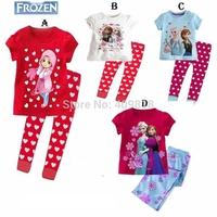 New 2014 children clothing girls dresses girl frozen anna elsa 2 piece set Girls T-shirt + pants outfit suits sets