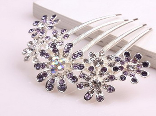 Free Shipping !!!Beautiful Flowers Crystal Hair Clips,Purple(China (Mainland))