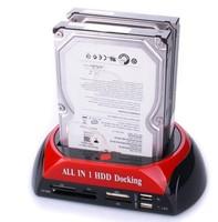 2.5''/3.5'' SATA Multi-Function HDD Docking Station SATA Hard Disk Base USB HUB Reader External HDD Enclosure Free shipping