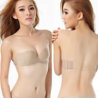 Promotion !! Sexy Half Cup Shape Transparent Women Bra Back Closure Straples 1/2 Cup A B C D Bra  Strapless Push Up NY01104