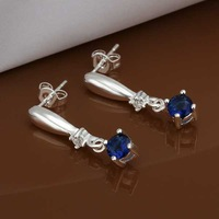 Free Shipping Wholesale 925 Sterling Silver Earring,925 Silver Fashion Jewelry,Inlaid Blue Stone Earrings SMTE445