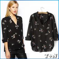 Free shipping 2014 New Fashion casual shirts three quarter Retro Printing sweatshirt