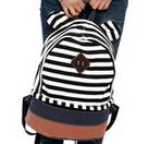 Cute Striped canvas printing backpack school bag for teenagers girls college mochilas women casual back pack satchel bagpacks