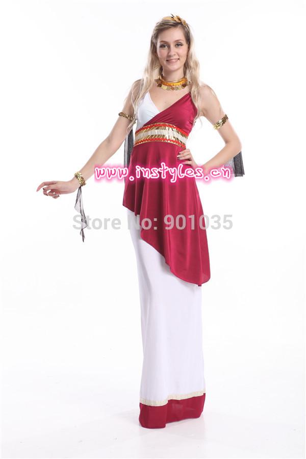 FREE SHIPPING S-2XL Ladies Roman Empress Greek Goddess Toga Fancy Dress Costume(China (Mainland))