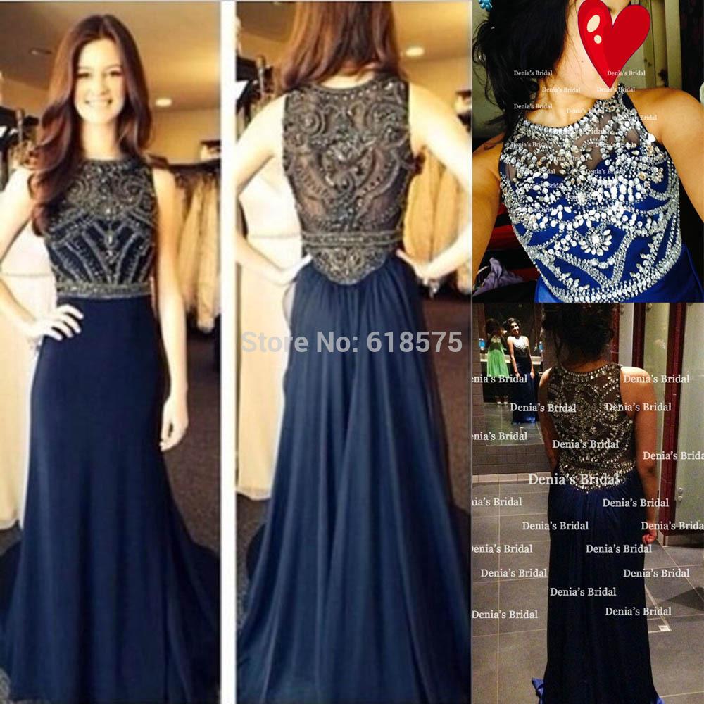2014 Jahrgang schiere kristall perlen vestidos de fiesta lange navy blue chiffon brautkleider