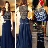 2014 Vintage Sheer Crystal Beading vestidos de fiesta Long Navy Blue Chiffon Prom Dresses Real