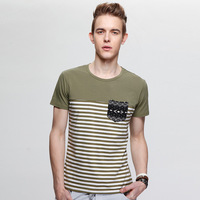 Hot Sale New 2014 Summer Men Classic Striped Cotton T-Shirt Casual Slim Short Sleeve O-Neck T Shirt Top Quality
