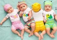 2015 New cotton children cartoon cartoon baby boys girls 3 pcs clothing set Long sleeved baby Rompers hat pants newborn