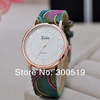 JW180 BOBO Brand Couture Watch Embroidered Band Big Dial Golden Retro Women Dress Wristwatches PU Leather Hour