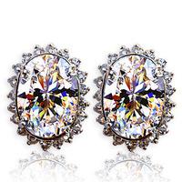 Free Shipping Women Earrings,Pure 925 Sterling Silver Needle Stud-Earring,Crystal Zircon Austria Crystal Earring Wedding Jewelry