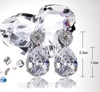 2014 Fashion Dangle Earrings 925  Pure silver Earring Zircon Women Fashion Wedding Accessories Crystal Earrings Jewelry