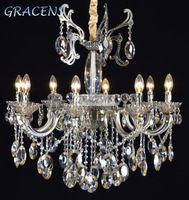 HOT! Free Shipping 8 Arms Metal Home Chandeliers Lighting Fixture with 100% Pure K9 Crystal (A CLRB8098-8) D800mmXH750mm