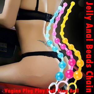 Orgasm Vagina Plug Play Pull Ring Ball Sexy Anal Sex Toys Jelly Anal Special Toy Beads Chain(China (Mainland))