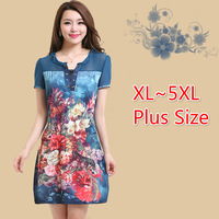 Summer New -women's fashion slim elegant quality floral print one-piece dresses plus size XL~5XL
