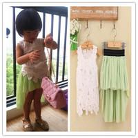 retail  2014 new fashion girls summer clothing set, vest + skirt 2-piece set, lace girls  set