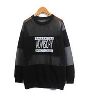 2014 new fashion women perspective gauze patchwork loose letter print t-shirt top parental advisory explicit content sweatshirt
