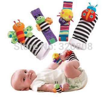visão audição de desenvolvimento chocalhos brinquedos eletrônicos pulso rattle+foot meias 4 pcs/set(China (Mainland))