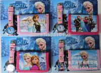 10pcs/lot New 2014 Frozen cartoon wallet girl's watches and kids cute children purse girl wristwatch Free shipping