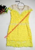 New 2014 Hot selling yellow lace dress backless women vestido de renda vestidos casual free shipping