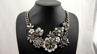 2014 Newest Brand Jewelry Chain Chunky Choker Statement Necklace crystal stone flower necklace for Women 2014 necklace