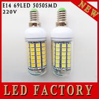 5pcs/lot 2014 New arrival 69leds SMD 5050 E14 LED bulb lamp ,Warm white/white,15W 220V-240V 5050SMD LED Corn Bulb Light