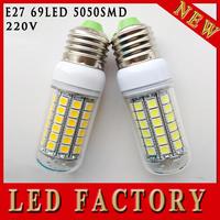 ONE PCS Led Lamp E27 220V 1450LM led lighting Warm White/White E27 15W 69LEDs Bulb LED corn Lamp Free Shipping