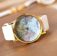 2014 spring and summer clothes table the trend of map watch girls table Men's Sports Leather strap Watches