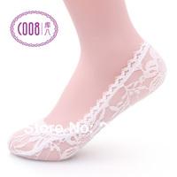 Summer beautiful women fashion lace slippers invisible  ultra-thin anti-odor shallow mouth socks free shipping 10pcs/lot