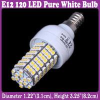 E12 120 LED 3528 SMD Decorative Corn Light Bulb Lamp Pure White 110V 220V   5 pcs/Lot