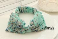 FreeShipping 12pcs/lot Korean New Floral Pattern Chiffon Fresh Elastic Headband Large Bow Hairband D0120 5colors