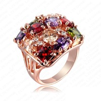 Fashion Brand Women Classic Rings18K Rose Gold Plated Geniune SWA Element Austrian Crystal Women Wedding RingsRZ007