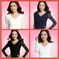 2014 New listing women's lace basic shirt  long-sleeve top lace shirt t-shirt long-sleeve---fast free shipping