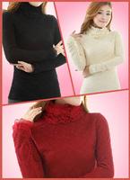 Turtleneck lace basic shirt female plus velvet thickening long-sleeve T-shirt female plus size thermal underwear lace shirt
