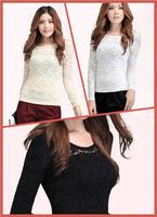 New style Women's Thickening lace basic shirt  plus velvet  long-sleeve t-shirt female long-sleeve shirt