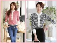 New listing 2014 autumn winter top quality lady stripe t-shirt female lace long-sleeve basic shirt women's plus size-GIFT