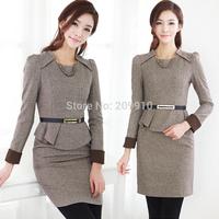 New Spring and Autumn Winter Ofifce Career women's Formal Fashion Elegant Slim Ol 4xl woolen High Quality Dresses Plus Size