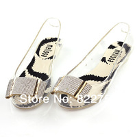 2014 transparent open toe jelly shoes fashion jelly sandals flat plastic women's plastic slip-resistant