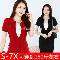 plus size Skirt Suits Sets 2014 Summer Women's Formal work wear short-sleeve  7XL Professional l OL Suits Sets Office Sets